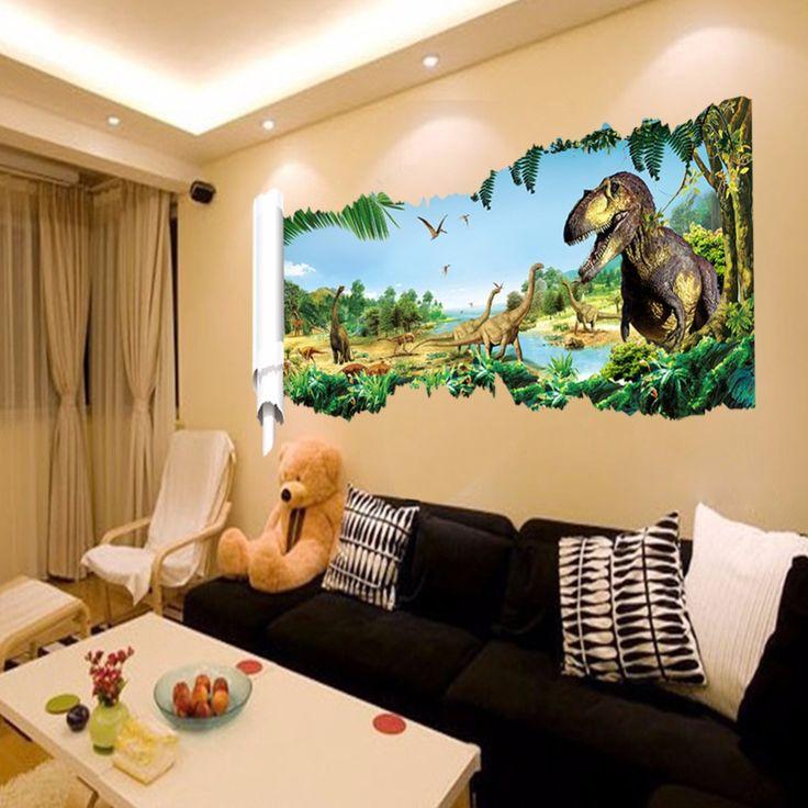 pas cher 3d dinosaur stickers muraux pour chambre d. Black Bedroom Furniture Sets. Home Design Ideas