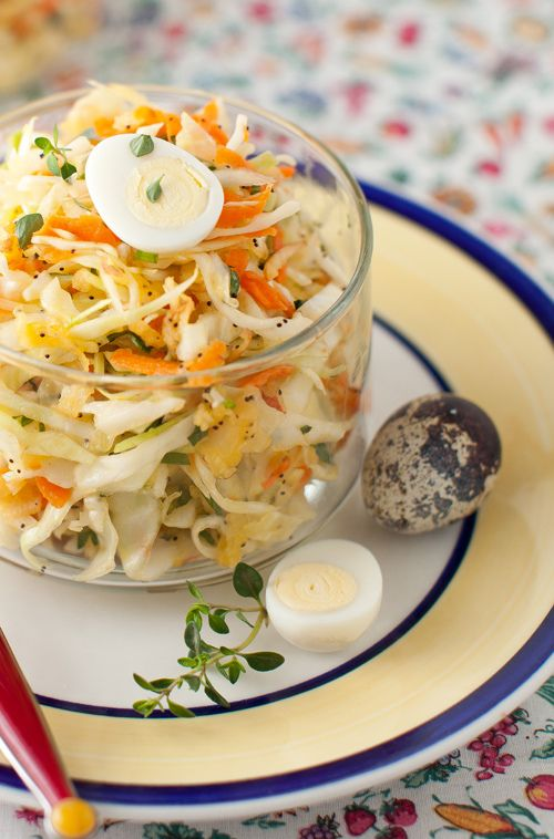 Cabbage Salad with Carrot, Apple, Cilantro and Sunflower Oil