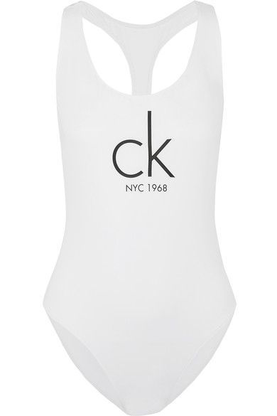 Calvin Klein Beachwear - Printed Swimsuit - White - x small