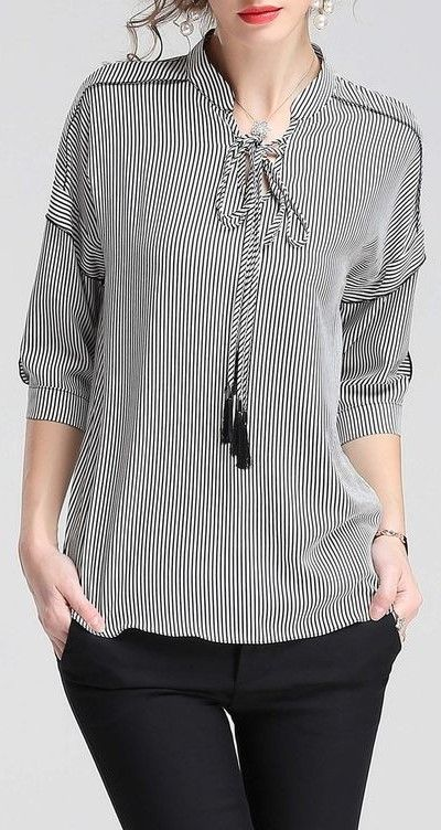 3/4 cuff sleeve stripe blouse / tunic