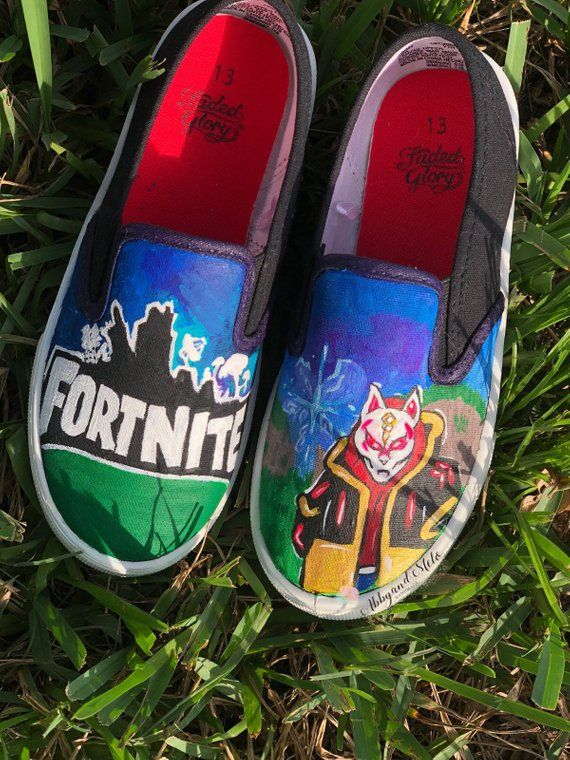 88f348a46be7 Hand painted Fortnite kids shoes