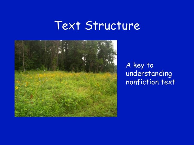 This presentation introduces young readers to several important text structures. Through examples, pictures, and practice, students will learn how to identify …