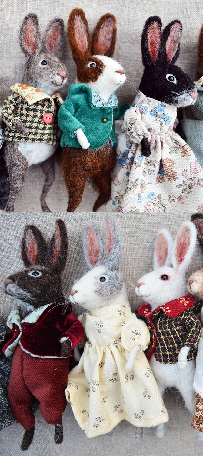 Little Rabbit Ornaments~Charming needle felted characters by Rustles from the Meadow