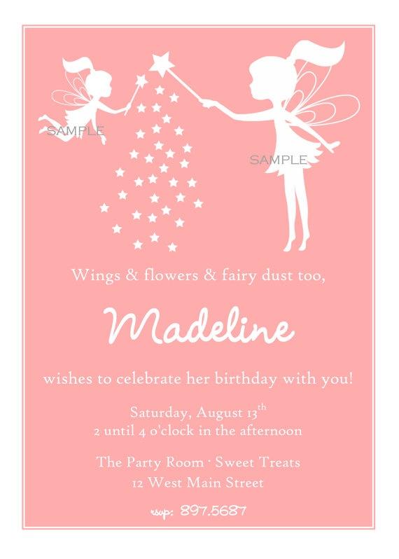 Fairy birthday party invitation idea