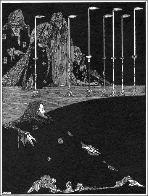 """Я видел, как они вылепить слоги моего имени.  Гарри Кларк, Иллюстрация к """"Колодец и маятник» из сказки Эдгара Аллана тайны и воображения, 1923 (источник)."""