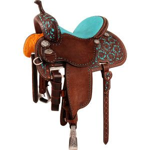 turquoise barrel racing saddle