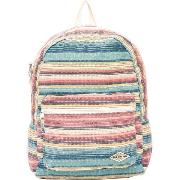 Billabong Women's Shallow Tidez Backpack (2,945 INR) ❤ liked on Polyvore featuring bags, backpacks, accessories, multi, billabong, rucksack bag, zip bags, knapsack bags and billabong bag