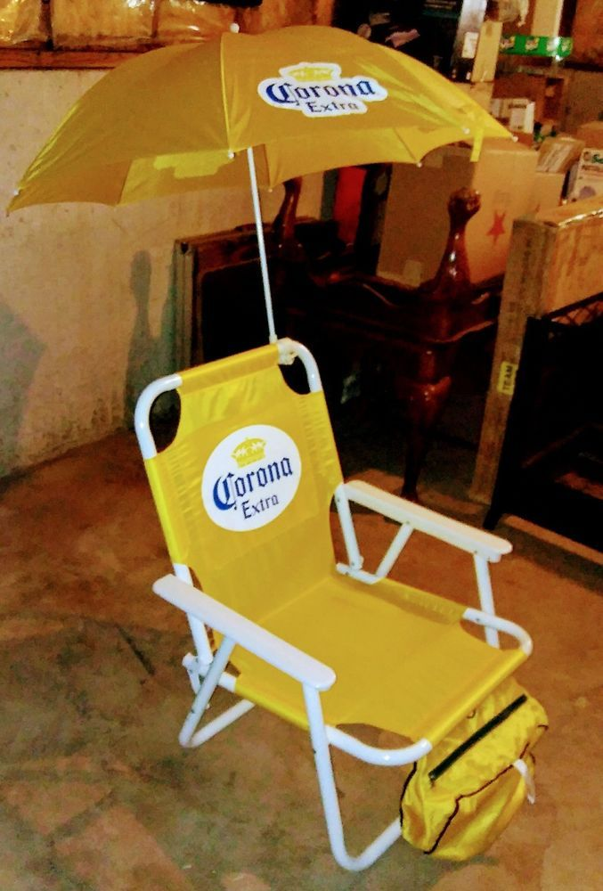 Corona Extra Beer Beach Chair with Umbrella Attached.New & very Cool