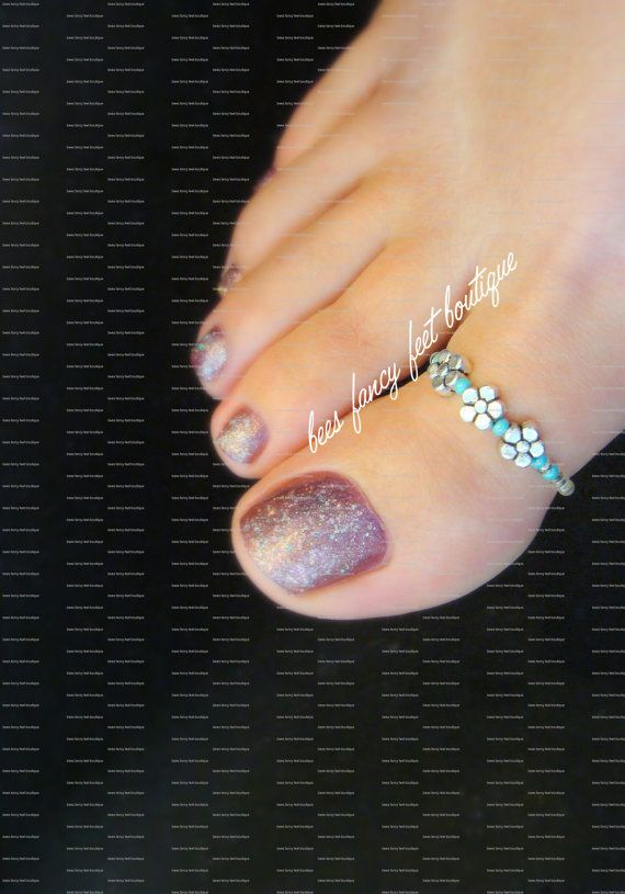 Big Toe Ring Silver Violets Turquoise by FancyFeetBoutique