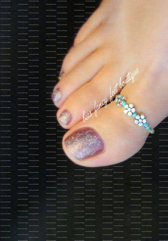 Dedo gordo del pie plata violeta turquesa por FancyFeetBoutique