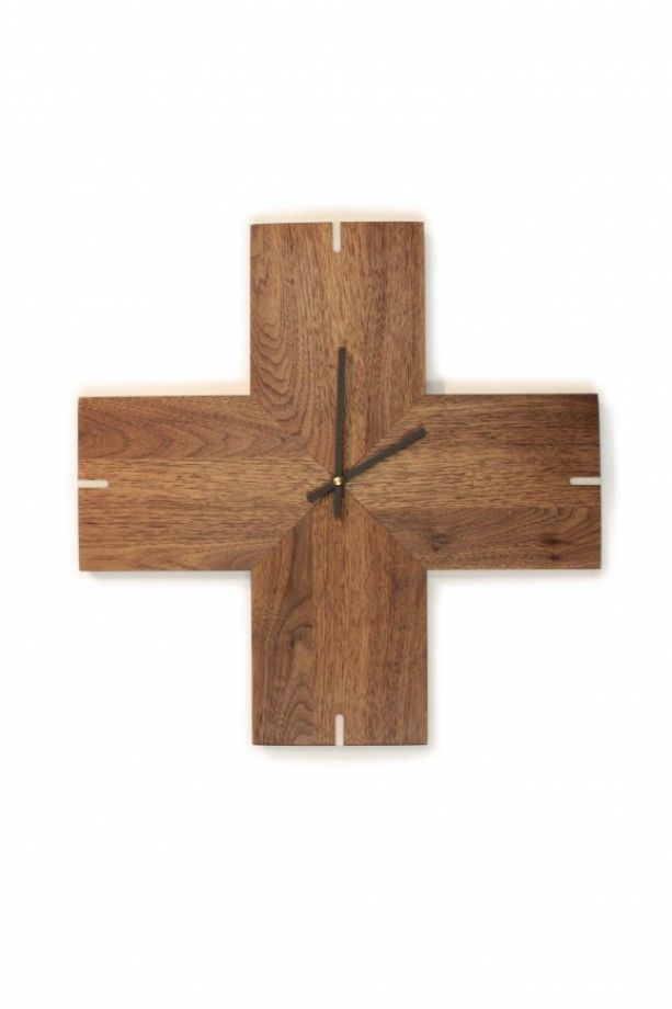 LOVE this modern clock - perfect for the modern home decor - also a great gift idea for a housewarming party - Plus Clock - Solid Walnut Wall Clock - handmade - made in America - http://www.aftcra.com/uncommon/listing/9107/plus-clock-solid-walnut-wall-clock