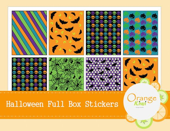 Halloween Full Box Planner Stickers by OrangeKiwiDesign on Etsy