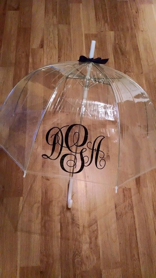 monogram umbrella bridesmaid gift by SweetnSouthernCreati on Etsy
