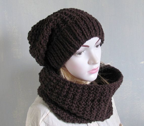 Super CHUNKY hand knit HIPPIE Hat Scarf Set Slouchy Hat and Tube Scarf Women Hat Scarf Winter Hippie Set