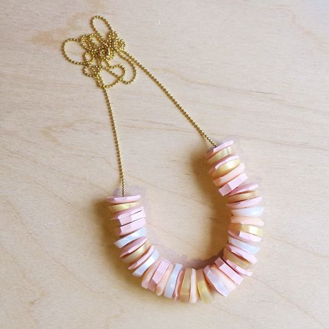 hand cut silicone geometric bead necklace