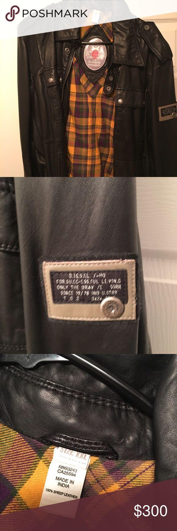 Men leather diesel coat Men leather diesel coat, like new Diesel Jackets & Coats Bomber & Varsity