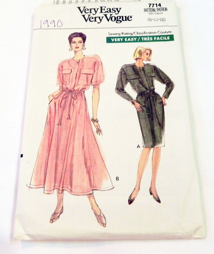 """1990s Dress Dropped shoulders Drawstring waist patch pockets sewing pattern Vogue 7714 Size 8 10 12 Bust 31.5 32.5 34"""" UNCUT FF by retroactivefuture on Etsy"""