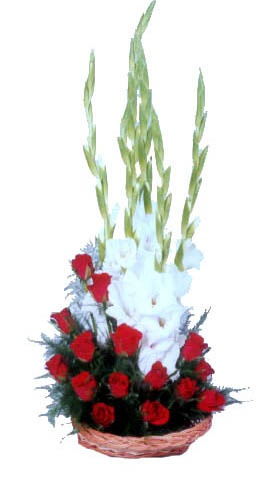 White Gladiolli and Red roses Basket