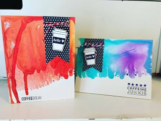 Cards created with Dylusions Sprays, Ms. Kimm Creates stamps
