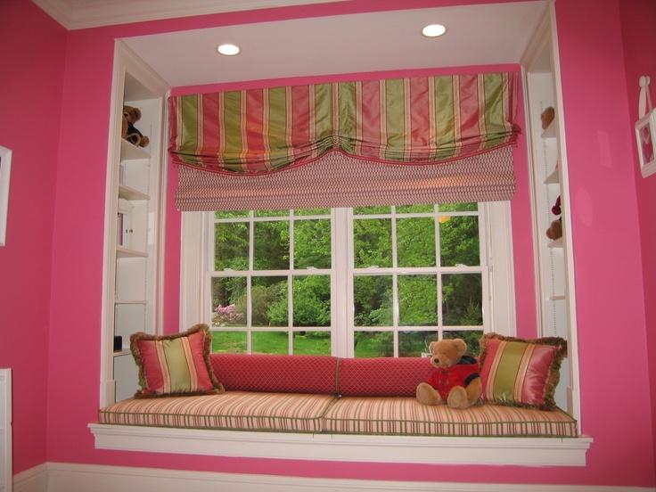 window seat valance roman shades cushions and pillows custom made by lynn chalk