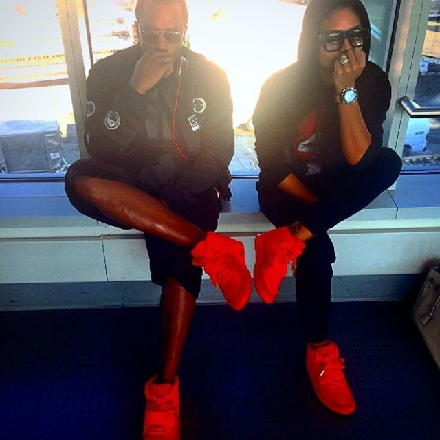 #Puffdaddy and #Cassie wearing #Nike Air Yeezy 2 Red October
