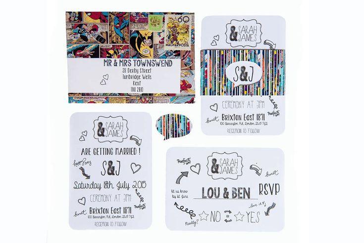 Comic book superhero wedding invitations