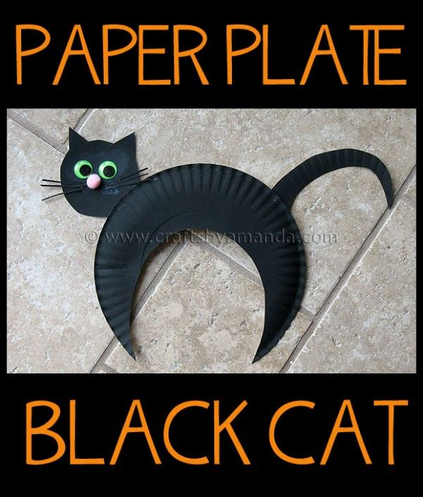 Make an adorable paper plate black cat for Halloween! Kids Crafts!