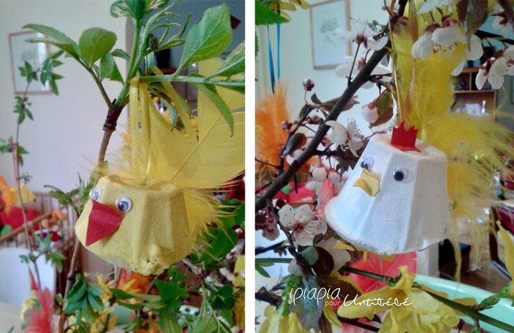 Diy de pâques - Poules et poussins en carton à oeufs