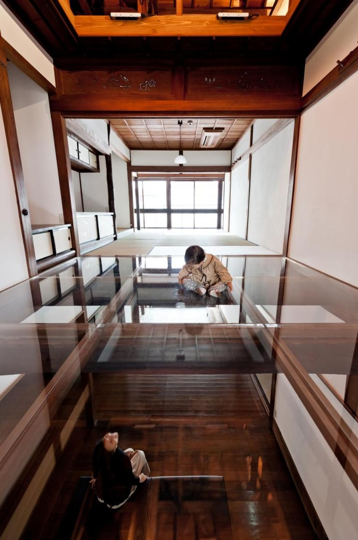 Transparent floors make Kiya Ryokan into a three-dimensional Mondrian grid. Kiya is offering 10,000 yen off till March 20, 2013.