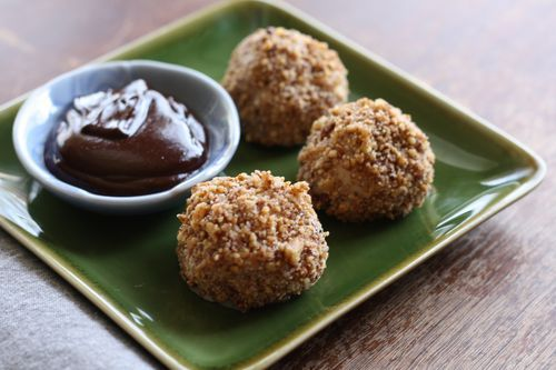 Pecan-Coated Ice Cream Balls with Hot Fudge Dipping Sauce --- forget cake, this is exactly what I want on my next birthday!! (vegan, gluten-free)