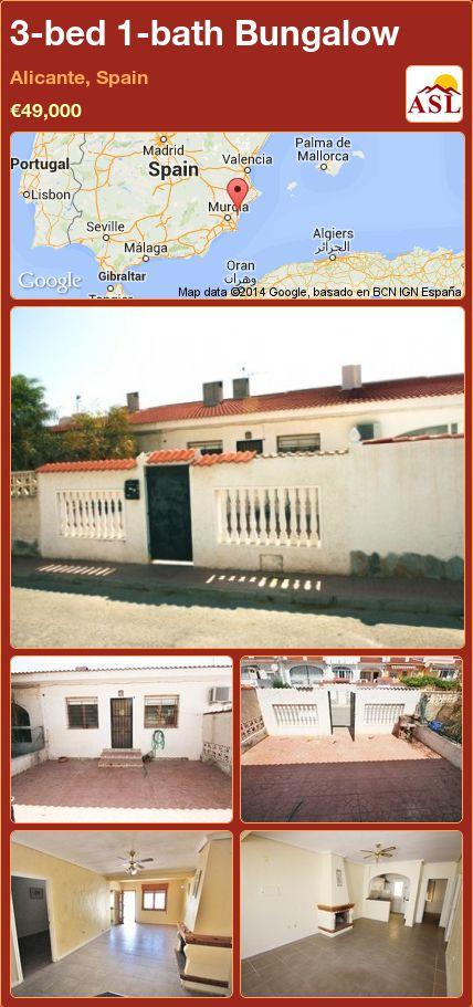 3-bed 1-bath Bungalow in Alicante, Spain ►€49,000 #PropertyForSaleInSpain