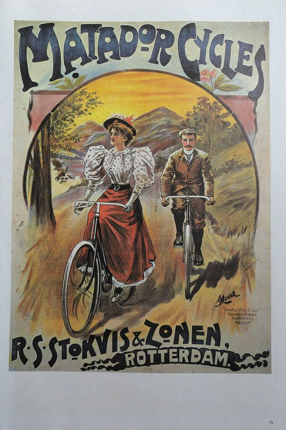 Vintage Bike Poster, Matador Cycles Riding Along Country Path, Fongers Rywielen Eenig Magazine Cycle, Bicycle Print, Jack Rennert, USA - this looks about Annie's day