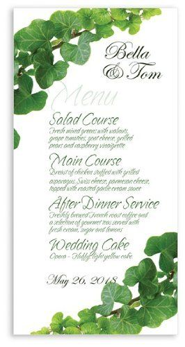 190 Wedding Menu Cards - Green With Envy by WeddingPaperMasters.com. $123.50. Now you can have it all! We have created, at incredible prices & outstanding quality, more than 300 gorgeous collections consisting of over 6000 beautiful pieces that are perfectly coordinated together to capture your vision without compromise. No more mixing and matching or having to compromise your look. We can provide you with one piece or an entire collection in a one stop shoppi...