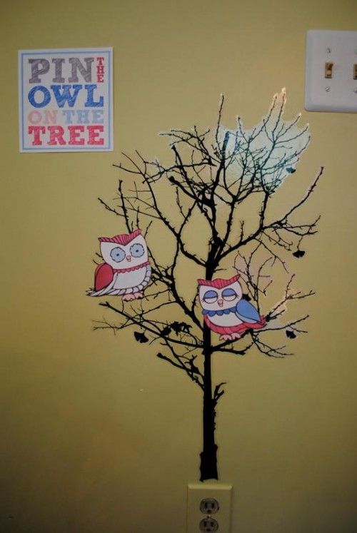 Pin the Owl on the Tree - cute idea for a party game.  Not sure we're quite ready for party games, though!  ;)