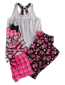 Plaid Skull 3 Piece Pajama Set
