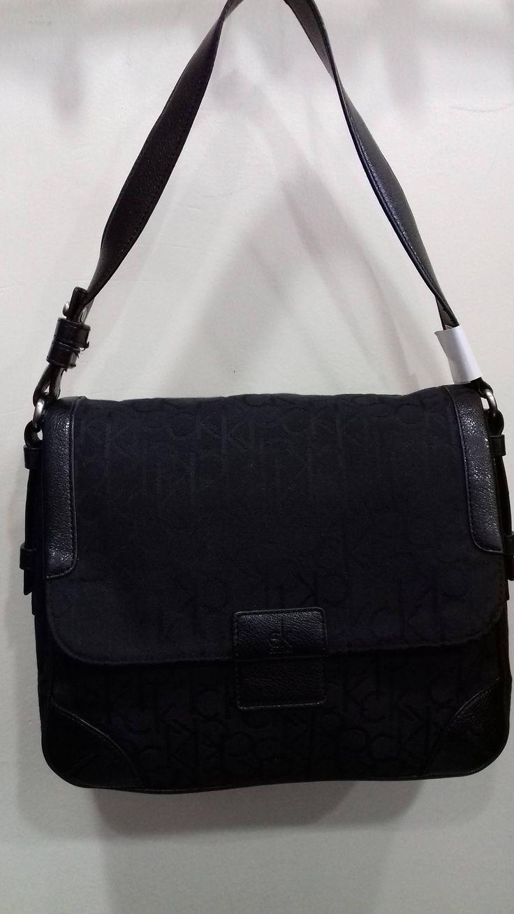 Vintage 80s Calvin Klein Black CK Monogram Logo Canvas Shoulder Bag in ***Excellent Condition*** by AlternativeByGeorge on Etsy