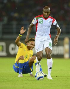 Charles Kabore of Burkina Faso gets past Pierre Aubameyang of Gabon during the 2015 Africa Cup of Nations football match between Burkina Faso v Gabon at Bata Stadium in Bata, Equatorial Guinea on 17 January 2015 ©Barry Aldworth/BackpagePix