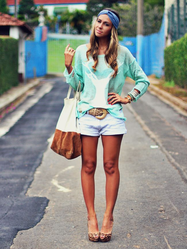 look-com-shorts-brancoFashion Fade, Colors Style, Brazilian Style, Mint Jumpers, Refined Style, Spring Sweaters, Dreams Wardrobes, Fashion National, Dreams Closets