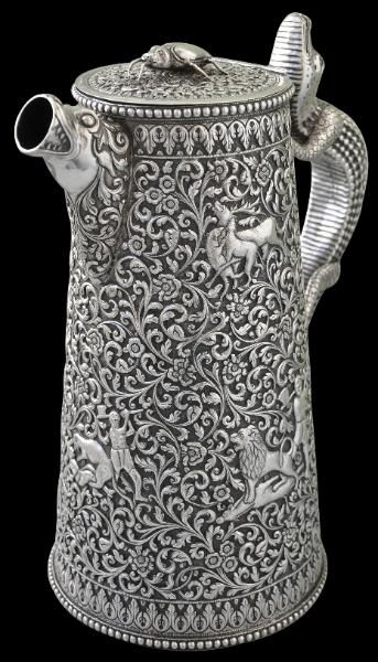 Large Chased Silver Water Jug Cutch, India circa 1880