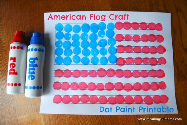 American Flag Craft with Dot Paints and Printable