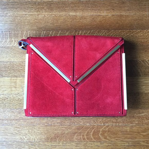 REISS small red shoulder bag/clutch Suede patchwork leather, gold hardware + an adjustable strap that can easily be tucked inside if you'd rather wear it as a clutch. ❤️❤️❤️ Perfect condition! Only worn a few times! Reiss Bags Mini Bags