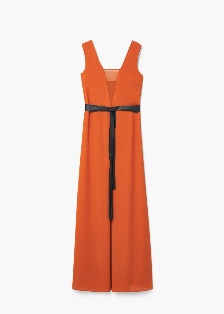 Μακρύ φόρεμα με φιόγκο   MANGO ΜΑΝΓΚΟ