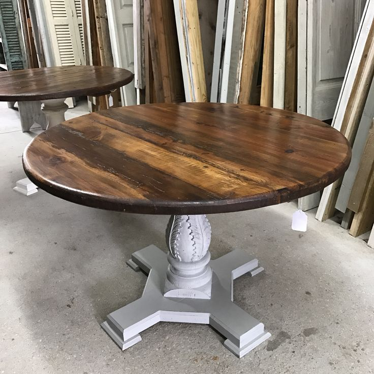 white wood carved round coffee table