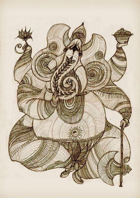 Henrique Vieira - ilustrações, estudos e esboço  Ganesh 1