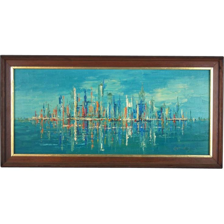 Mid Century Abstract Cityscape Skyline Oil Painting Ed