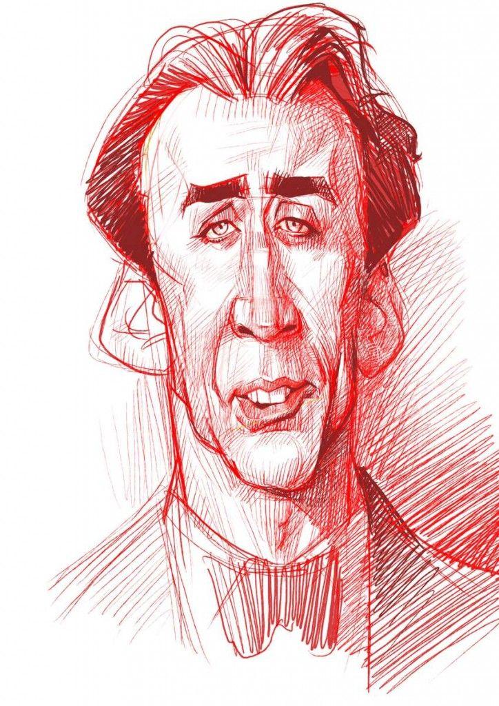 Karikatur Zeichnen Demo - Nicolas Cage - Schnellzeichner, Karikaturist Xi Ding