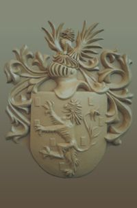 Coat of Arms hand built in clay and multiple copies cast in cement for Solms-Delta Wine Estate in Franschhoek, South Africa  Approx 85cm   Sign Carver: http://www.signcarver.co.za/coats-of-arms/