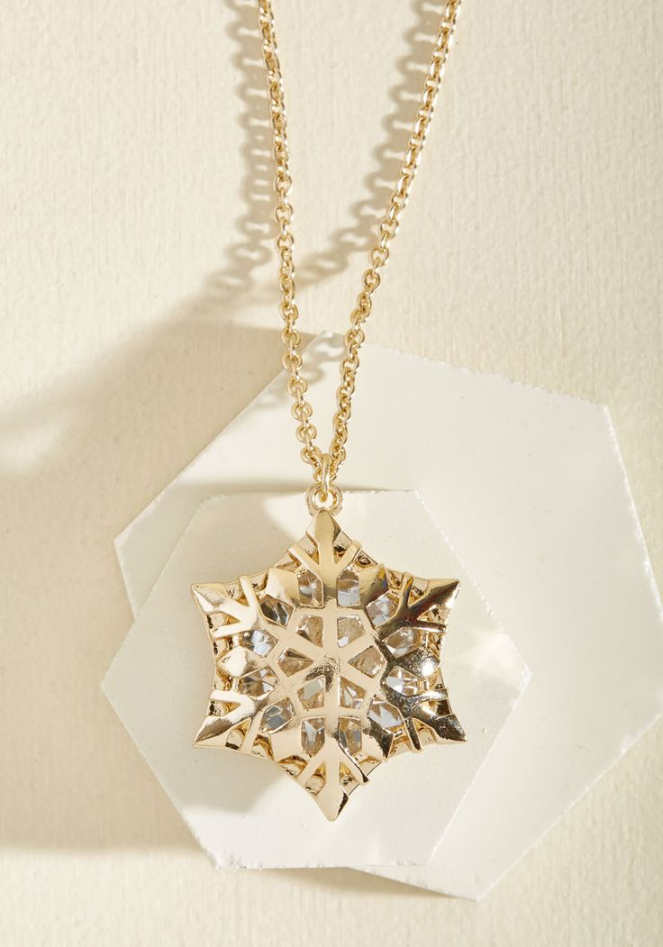 No Business Like Snow Business Necklace. Hey starlet, before you step out onto the stage, adorn your ensemble with this golden necklace!  #modcloth