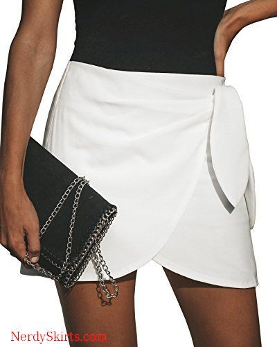 a21066ef8b Ybenlow Womens High Waist Wrap Front Short Mini Pencil Skirts with Tie Knot