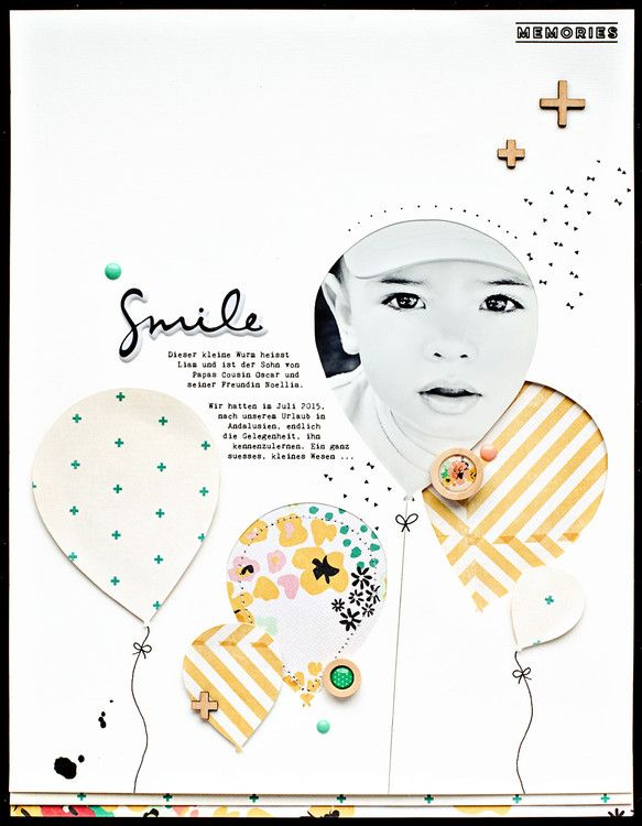 Cool  papercrafting scrapbook layout smile by JanineLanger at studio calico
